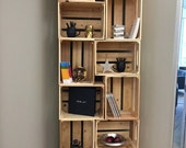 6PC,  wooden crate bookshelf- unstained with brackets