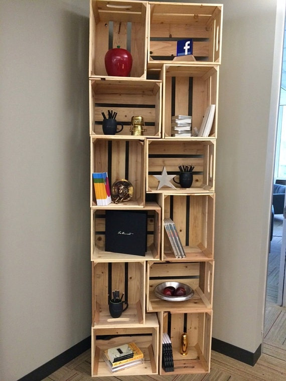 items similar to 6pc wooden crate bookshelf unstained. Black Bedroom Furniture Sets. Home Design Ideas