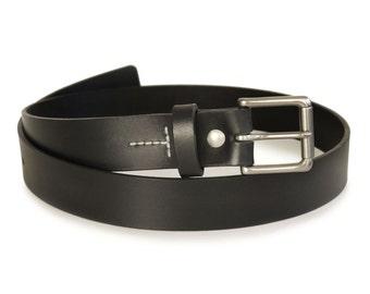 "Mens Handmade Black Leather Belt -- 1.25"" Width"
