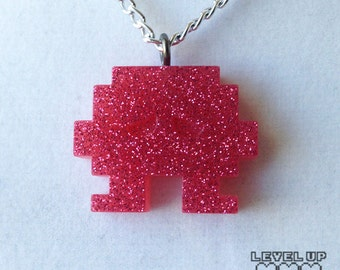 Space Invader Necklace Pink (old version/small) *** FREE SHIPPING ***