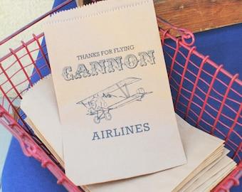 25 Custom Vintage Bi-Plane Candy Bags-Candy Buffet-Baby Shower, Birthday Party, Peanut Bag