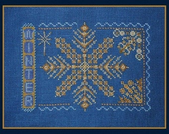 Cross Stitch Instant Download Pattern Winter. Sampler Counted Embroidery Chart. Snowflake Christmas. Turquoise Graphics & Designs. X Stitch