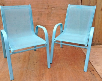 PAIR of childrens rustic aqua blue metal chairs, sold as a pair - solid metal chairs