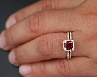 14k Rose Gold 6mm Crimson Red Garnet Cushion Single Halo Diamond Ring and Wedding Band set (Choose color and size options at checkout)