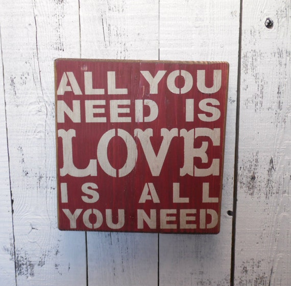 Wall Decor All You Need Is Love : Wooden sign all you need is love subway art wall decor
