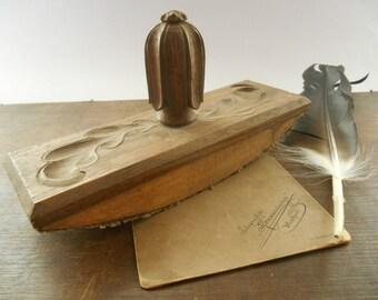 Elegant Vintage Ink Blotter Wooden Blotter Brown Wood Ornated Blotter Vintage  Office Accessories Vintage Desk Supplies Rocking
