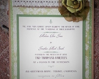Green Damask, Cream and Brown Vintage Wedding Invitation Suite