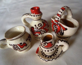 Set of 4 : Ceramic miniatures