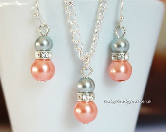 Coral and Grey Necklace, Bridesmaids Necklace Earrings Set, Coral Necklace, Coral Wedding, Flower Girl Jewelry, Bridesmaid Jewelry