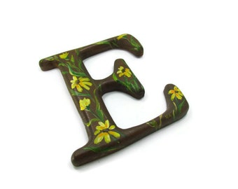 Capital Letter E Hand Made and Painted Vintage
