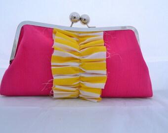 Large hot pink yellow ruffle clutch #68