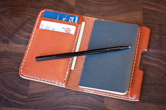 "Small notebook wallet and pen ""Park Sloper Junior"" bridle leather - chestnut"