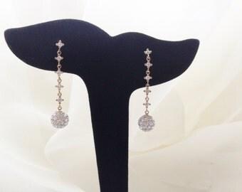 Dangle 14K Gold Earrings Cubic Zirconia/Bridal/Bridesmaids/Graduation/Birthday/Gift