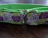 """Purple and Green Blossoms Custom Martingale Dog Collar 1.5""""wide"""