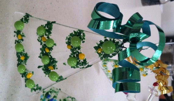 Items Similar To Fused Glass Christmas Tree Ornaments On Etsy