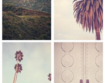 HOLLYWOOD set of 4  - Photographic Print - california, los angeles, art, sign, photography, mint, green, natural, brown, bohemian, cinema