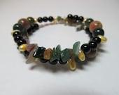 Indian Agate, Fresh Water Pearl and Jade Gemstone Bracelet
