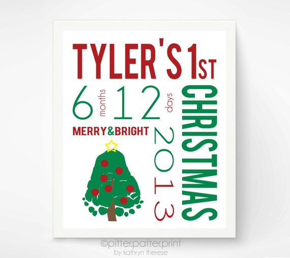 baby 39 s first christmas decoration by pitterpatterprint on etsy