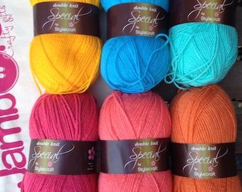 Colour pack of wool - 'Juicy' - pink, orange, blue.  6 balls of Stylecraft Special DK