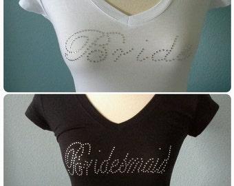 8 Bridesmaid shirts.Bridal entourage shirt. Bachelorette party. Wedding bridal party. Bride shirt.Rhinestone v neck