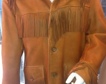 Tawny Brown Deer Skin Fringed Jacket, ca 1950s