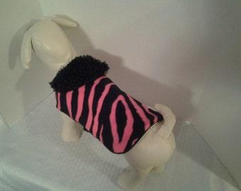 Dog Coat, Hot Pink Zebra
