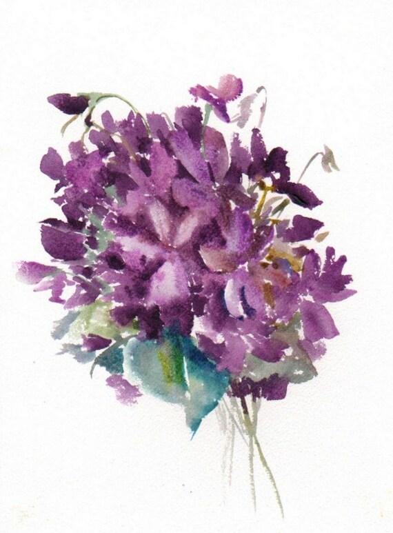 Peinture violette aquarelle originale peinture 12 x 9 dans for Peinture violette