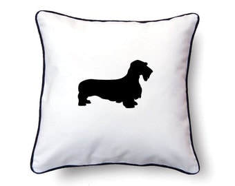 Wirehaired Dachshund Pillow 18x18 - Wirehaired Dachshund Silhouette Pillow - Personalized Name or Text Optional