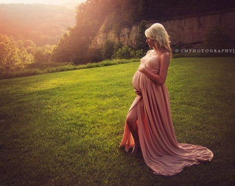 Maternity Gown Open Front Jersey Knit / Photo prop   *Nude Color Shown*