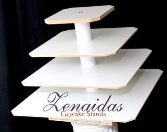 White Melamine Cupcake Stand  4 Tier Square Donut Stand Display Stand Birthday Stand DIY Project