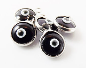 5 Mini Black Evil Eye Nazar Artisan Glass Bead Charms - Silver Plated  Brass Bezel