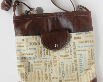 See the USA! Crossbody bag or shoulder bag, trimmed in leather, all the states are here.