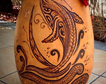 Custom Hawaiian gourd / ipu drums drum hula instrument