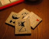 Handmade Banksy Coasters on Vintage Dictionary Paper - Set of 4