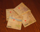 Customized City Map Coasters w/ Heart Featuring Street Locations - Set of 4