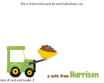Green Loader Boys Construction Note Cards Set of 10 personalized flat or folded cards