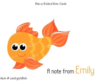 Goldfish Under the Sea Fish Note Cards Set of 10 personalized flat or folded cards