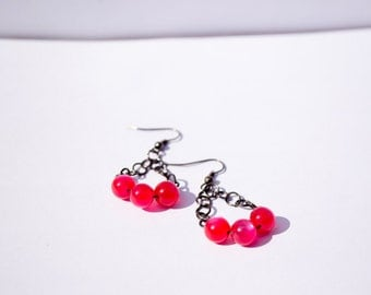 Raspberry Mist - Red Berry Round Beads & Metal Earrings