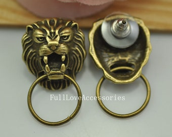 10pcs Antique Brass Lion Ear Stud Charms 19x21mm Antique Bronze Ear Nail Charms, Earring Charms