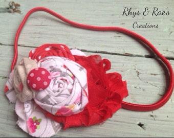 Red, White, Pink, Shabby Chiffon Rosette Fabric Flower Headband, Red Flower Headband. Flower Hair Clip, Baby Girl Headband, Newborn Headband