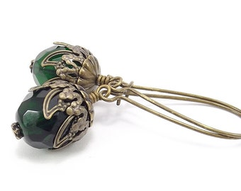 Antique Brass Earrings - Czech Emeral Green Glass Beads