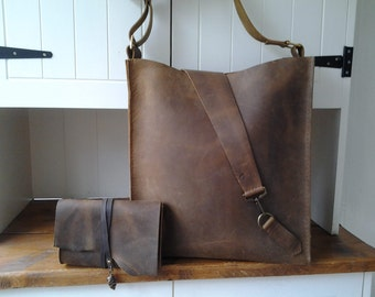 Large Brown leather bag, with matching clutch/ makeup bag