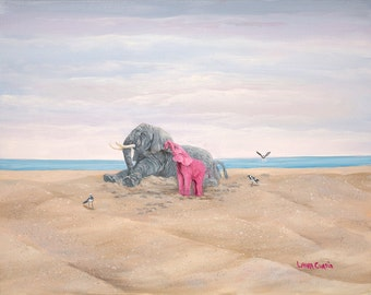 "Come on Let's Play 5"" x 7"" Print - 8"" x 10"" with matting. Pink Elephants"