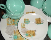 AMAZING Vintage Aqua Nautical Ship Melmac Kitchenware Set Plates Bowls Tea Cups OD 16 Piece Set sale