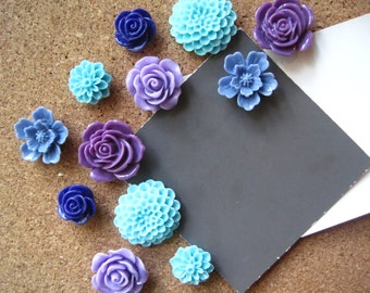 Thumbtack Set, 12 pc Flower Pushpins, Purple, Blue and Aqua, Office Supply, Bulletin Board Thumbtacks, Wedding Decor, Housewarming Gift