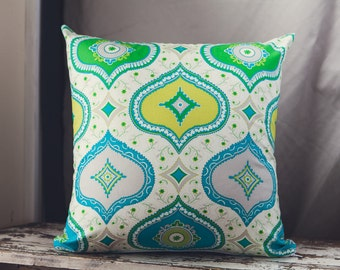 Square Cushion/Pillow Cover in Dena Designs Kumari Garden Chandra Blue Fabric with a French Linen backing.