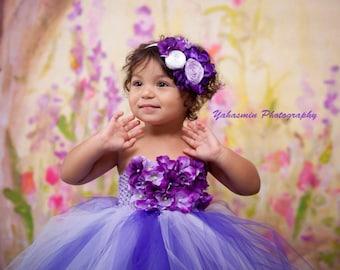 Purple flower birthday tutu dress