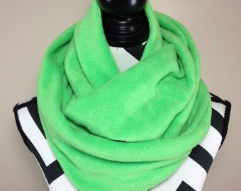 Green Scarf, Green Fleece Infinity Scarf, Winter Scarf