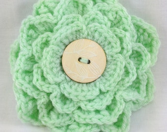 Mint Green Flower Brooch, Mint Flower Crochet Pin, Crochet Brooch, Mint Green Corsage