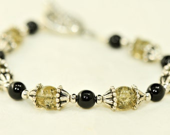 Black and Smoky grey crackle Czech glass beads